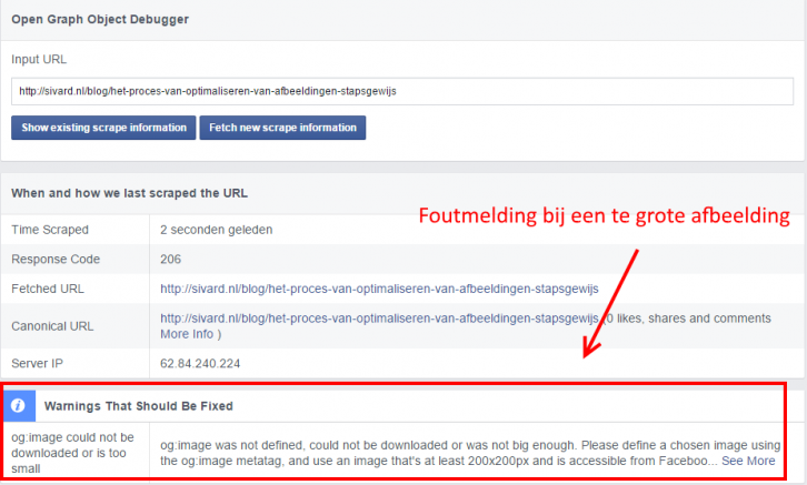 facebook open graph object debugger error