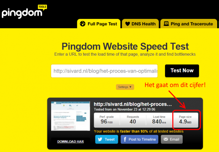 tool pingdom website speed too large pagesize