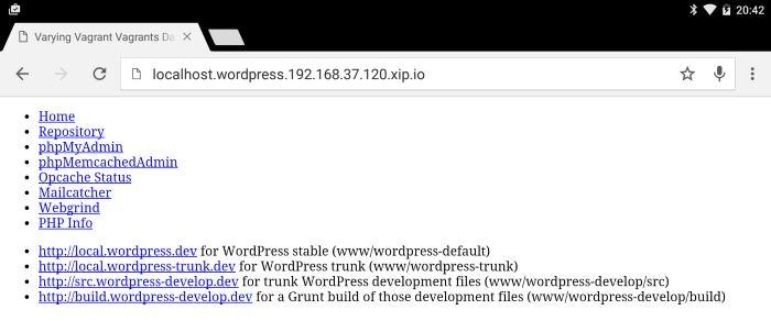 screenshot android tablet xip.io url